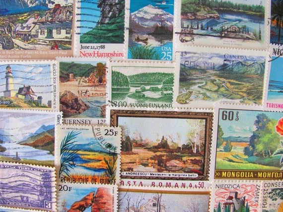 Walk With Nature 50 Vintage US Worldwide Postage Stamps Philately Breathtaking Landscapes Spring Summer Winter Fall