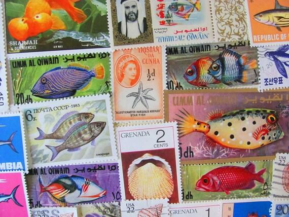 Under The Sea 50 Premium Vintage US Worldwide Fish Postage Stamps Miniature Aquarium Philately Whale Invertebrates Seashell Crab