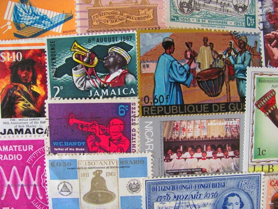 Music To My Eyes 50 Vintage US Worldwide Music Musician Postage Stamps Philately Guitar Piano Horns Sitar Sound Listen