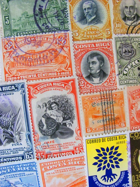 Rich Coast 50 Vintage Latin Love Worldwide Costa Rica Postage Stamps Republic of Costa Rica Philately Central America