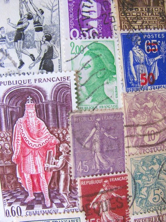 Vintage 50 French Kisses Postage Stamps France French Colonies Republique Francaise Paris Worldwide Philately Belle Epoche Steampunk