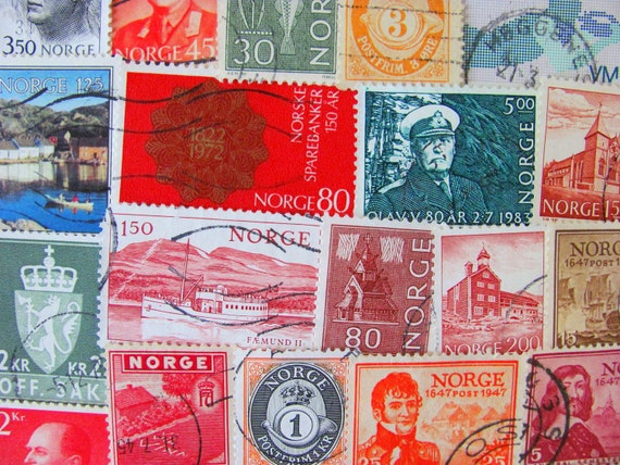 My Way or Norway 50 Vintage Worldwide Postage Stamps Philately Scandinavian Pride Norweigan Norge Noreg Oslo