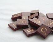 Vintage Scrabble Tiles Red Maroon with Gold Letters Set of 22 Custom Listing for bjlmeyer