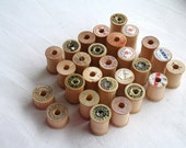 Vintage Wooden Spools 1 Inch Tall Set of 27