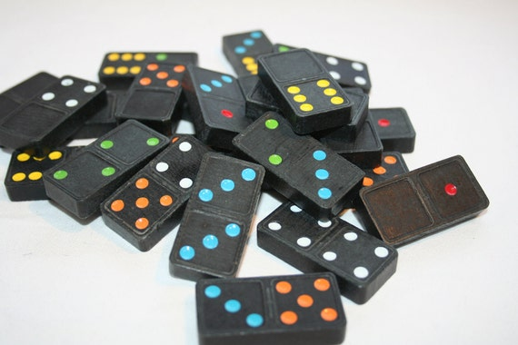 24 Vintage Colored Wooden Dominoes