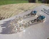 Aquamarine Ribbon Swirl Earrings
