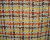 Vintage Striped Plaid Cotton Wool Blend Vintage Fabric NEARLY 3 YARDS
