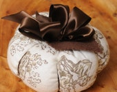 Dreaming on Home ....  Vintage inspired Fabric Pumpkin Holiday decor / pincushion Brown and white - Large