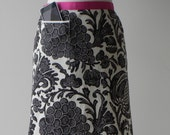 MODERN HOSTESS APRON with iPod/iPhone/smartphone pocket - Black and Ivory Print (Free Shipping)