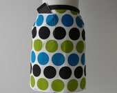 MODERN HOSTESS APRON with iPod/iPhone/smartphone pocket- Blue, Green and Black Polka Dot (Free Shipping)