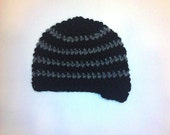 Baby Beanie - Black w/ Grey Charcoal Stripes and a Brim Visor (0-6 months)