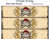 PIRATE PARTY - 20oz. Water Bottle Labels - digital File
