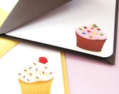 Strawberry and Cherry w/Candy Sprinkles Cupcakes Note Cards - Set of 5