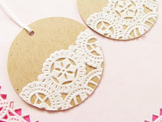 Items similar to ON SALE - Vintage Doilies Gift Tags