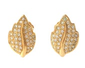CHRISTIAN DIOR Bijoux Crystal Pave Leaf Design Signed Earrings