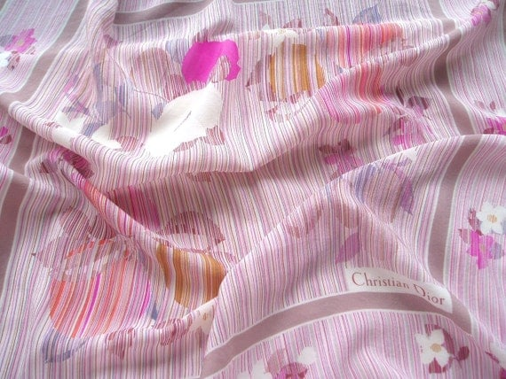 CHRISTIAN DIOR Fruit and Flowers Silk Scarf Gorgeous