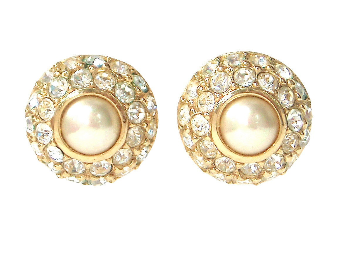Bijoux Vintage Christian Dior : Christian dior bijoux crystal pave and faux pearl signed