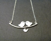 Love Birds Necklace, Family of Birds Necklace, Parent and Baby bird on a Branch, Personalized Initial, Mommy Necklace, Mother's Day, femmart