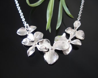 Five Cascading Orchids in Sterling Silver