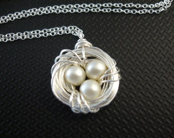 Bird's Nest Necklace in Sterling Silver chain, Mother's Day Gift, Mother of the Bride, Wire Wrapped, femmart