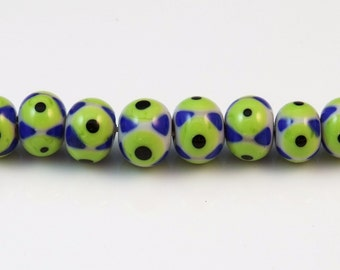 8 blue and green eye dot beads
