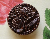 Original CZECH GLASS BUTTON - handpainted - metallic violet with sunflower motive