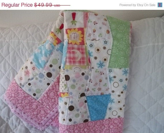 CLEARANCE SALE Quilt Shop, Baby Quilt, LadyBugs and Pastels, Personalized, Tumble Style