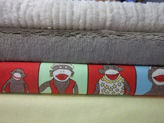 Rag Quilt Kit, Sock Monkey, Minky and Chenille Fabrics, Fast and  Easy to Make, Personalized