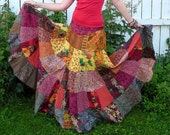 RESERVED - Autumn Leaves - Patchwork Boho Gypsy Skirt, Sizes - S, M, L