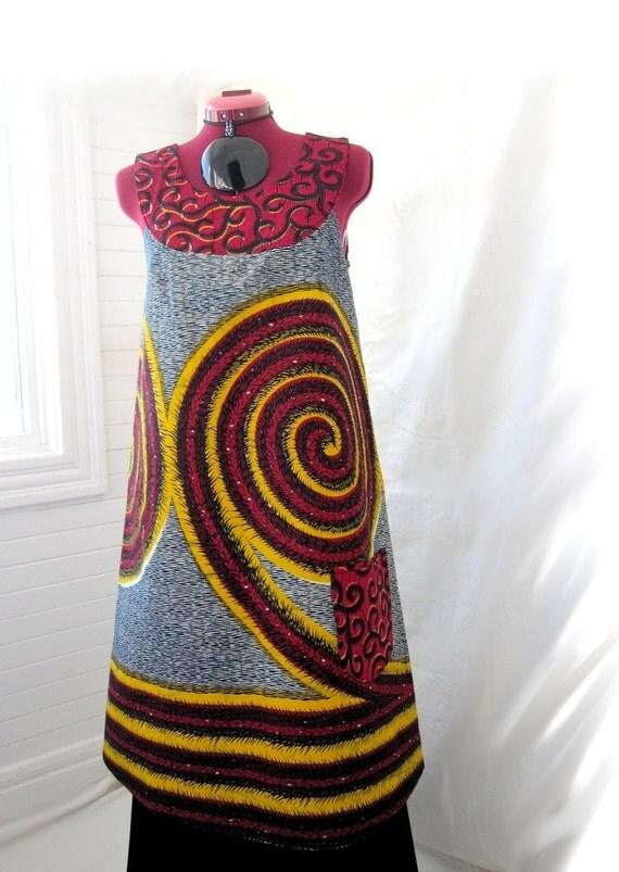 A Peace of Sunshine - African Print Shift Dress / Tunic, Sizes - S, M, L