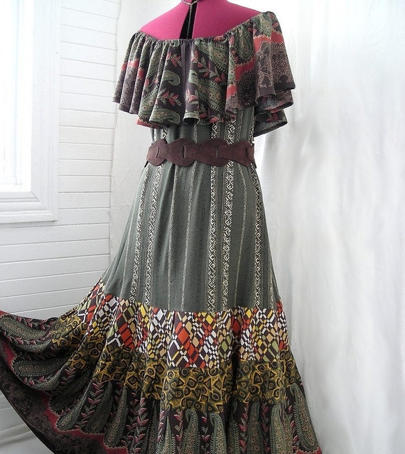 Spring on the Creek - Earthy Patchwork Boho Hippie Dress, Size - S, M, L