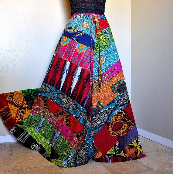 Careless Muse - Long African Hippie Skirt, Ooak Diagonal Patchwork skirt, Boho Gypsy, can fit sizes - XSmall, Small, Medium, Large