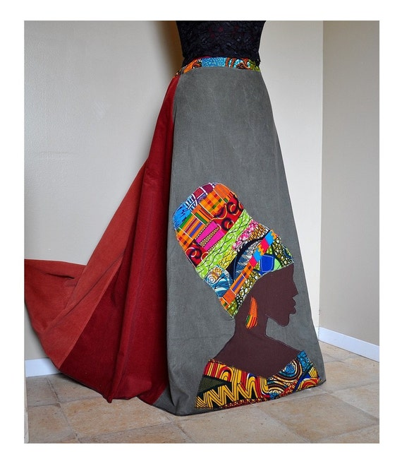 RESERVED - La Nubienne - Long Tribal Hippie skirt, Corduroy and African Patchwork Boho skirt, Ooak Ethnic,  Small, Medium, Large, XL