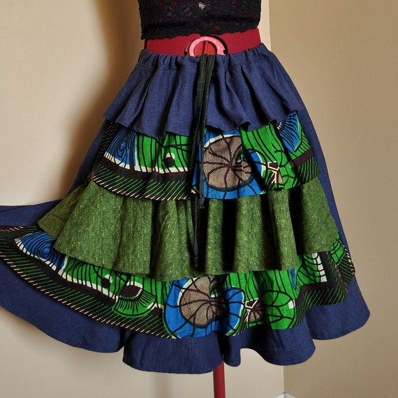 RESERVED - Spring Longing -  Short Hippie Skirt, Patchwork Victoriana Boho Bustle Skirt, Blue and green,can fit sizes S, M, L