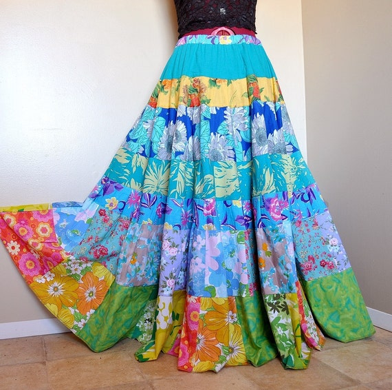 RESERVED for M.E - Spring FlowerChild - Long Hippie Patchwork skirt, Tiered Boho Gypsy Skirt, best fit sizes - Medium to XL, Tall