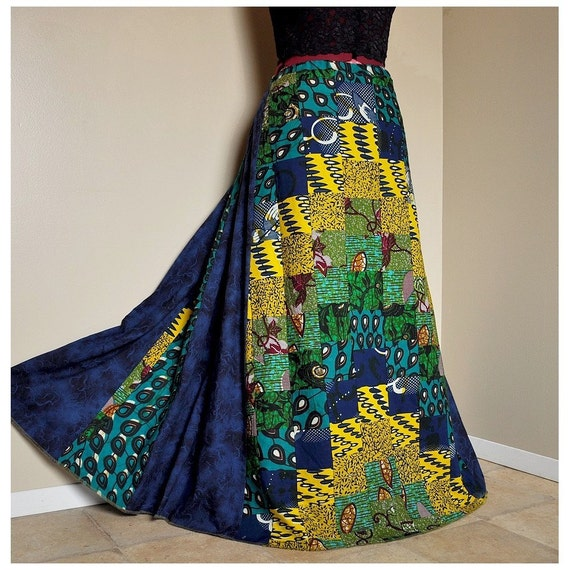 Down by the Reef - Long African Patchwork Skirt, Long Tribal Boho skirt, Ooak Bargello skirt, Handmade, can fit sizes - S to XL, tall