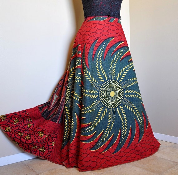 RESERVED for RF - Red Ruby Swirl - Long African Patchwork Skirt, Ethnic Hippie Gypsy chic, Tribal Reds and Rust, Can fit sizes - S to XL