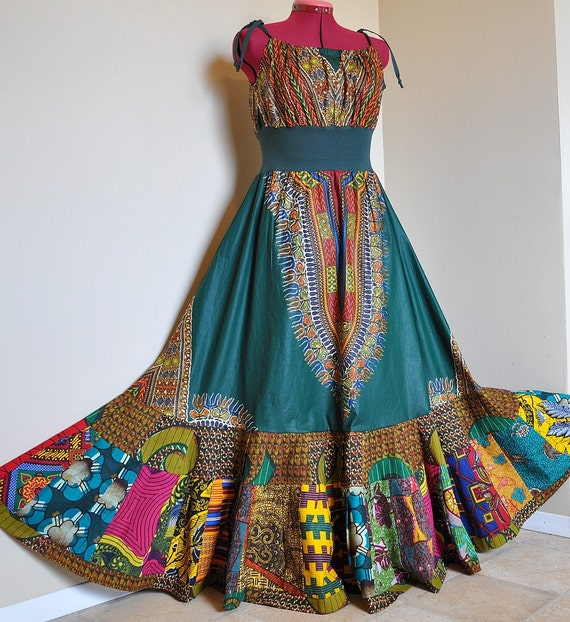 Tribal Bazaar -  Long African Bohemian Gown, Ooak Dashiki Maxi dress, Bright Ethnic Summer dress, Can fit sizes - S to XL