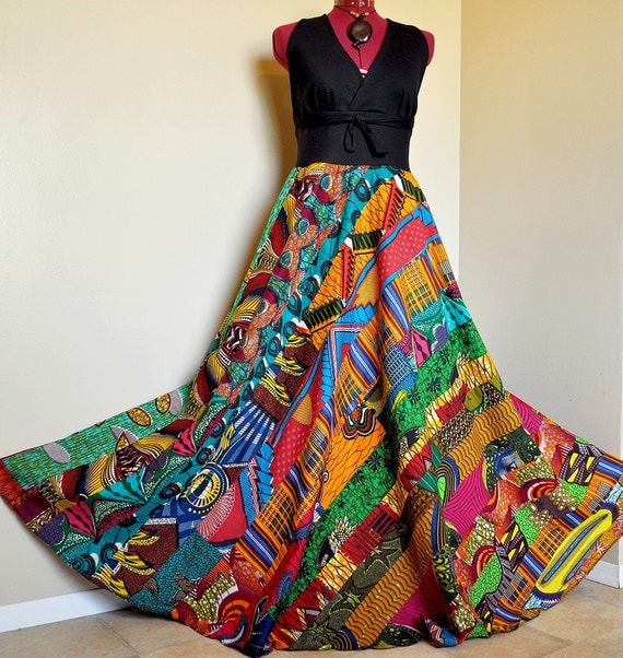 Serengeti Summer Colorful African Patchwork Halter Dress