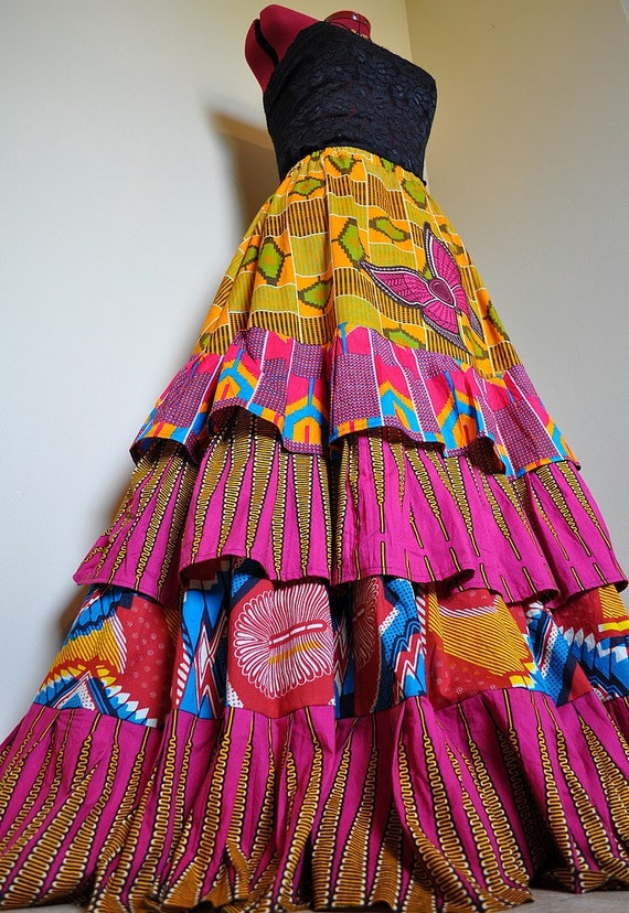 Marigold Summer - Long Layered African Skirt,  Ooak HippieTiered Skirt, Appliqued Boho Gypsy Skirt, Ideal for Sizes - S to L, Tall