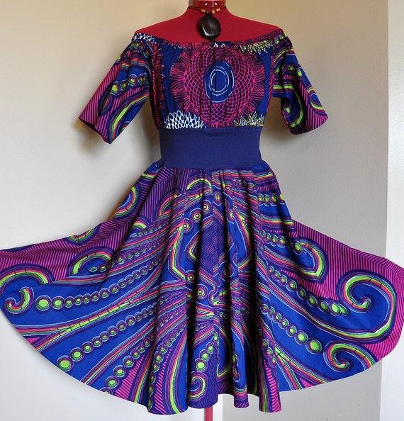 Aurora  - Short African Circle Dress, Ooak Tribal Maxi Gown, Deep blues, purples, pinks, Best fit sizes - S, M