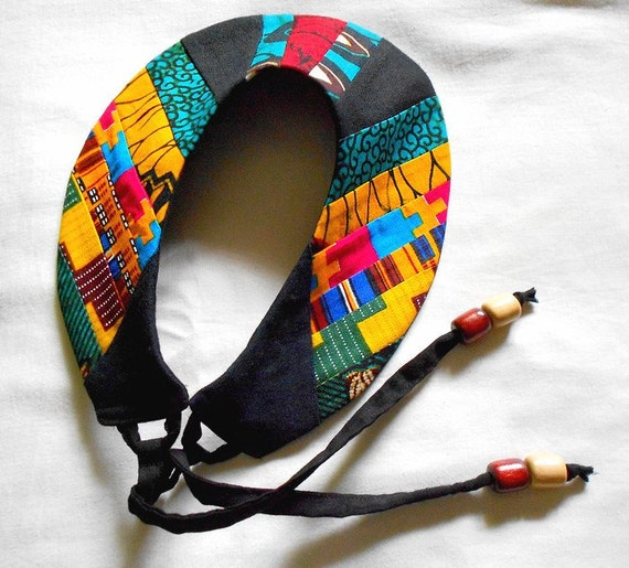 Bold Patchwork African Collar Necklace, One of a Kind Tribal Bib necklace, handmade statement piece