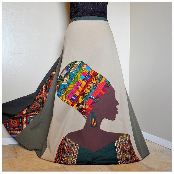 RESERVED for CL - La Nubienne - Long Appliqued African skirt, Tribal Patchwork Boho skirt, Ooak Ethnic, Can fit S to XL