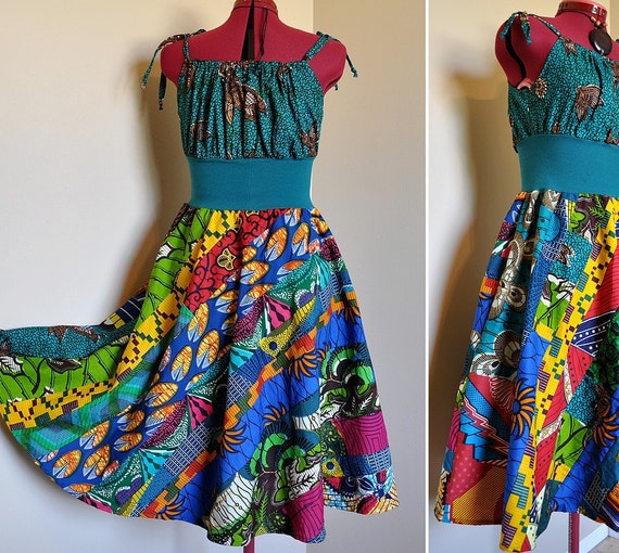 Teal Tribe - Short African Maxi Dress, Ooak Colorful Tribal Patchwork, Long Rainbow  Ethnic Gown, Best fit sizes - S, M, L