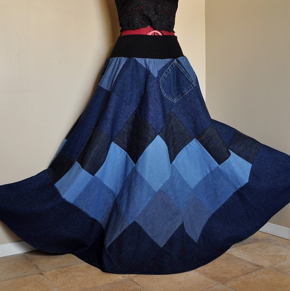 Mad for Blues Long Patchwork Denim Skirt Ooak bohemian