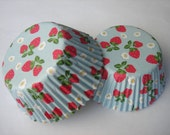 Light Blue With Red Strawberry White Flowers Cupcake Baking Cups Liners (QTY 50)