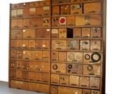 RESERVED   Vintage Hardware Store Bins and Shelving Cabinet / Oak