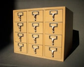 RESERVED for Erica  S  A  L  E  Vintage Library Card Catalogue Drawers File with 12 Drawers / Office