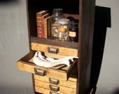 RESERVED for Sue / Collectors 7 Drawer Wood Cabinet with Steel Wheels / Urban Archeologist / Curiosities Storage / Book Shelf