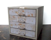 Vintage Steel 4 Drawer Hardware or Tool Storage Cabinet / Divided Drawers / Small / Union Steel Chest Co. NY